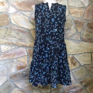 Banana Republic  Blue Floral Sleeveless Dress